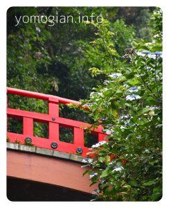 赤い橋と紫陽花