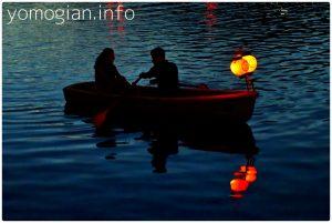 なら燈花会 浮見堂 写真 船 提灯