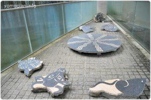 旧京都商工会議所のビル一階の床にあった故矢橋六郎氏が手がけた大理石のモザイク