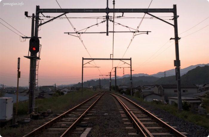 高野口駅 線路 夕暮れ 黄昏時