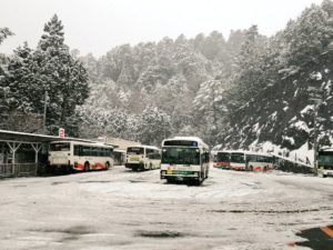 高野山駅 雪景色の高野山